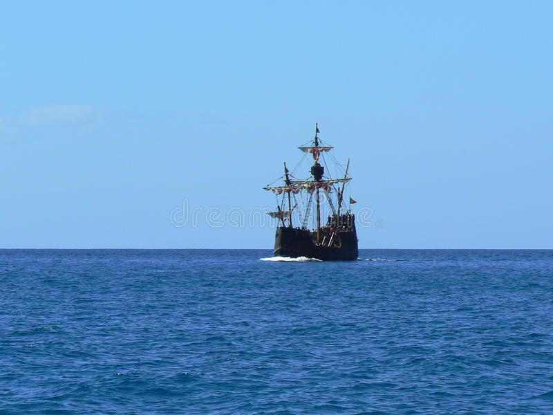 Pirates boat. Sailing on the sea royalty free stock image