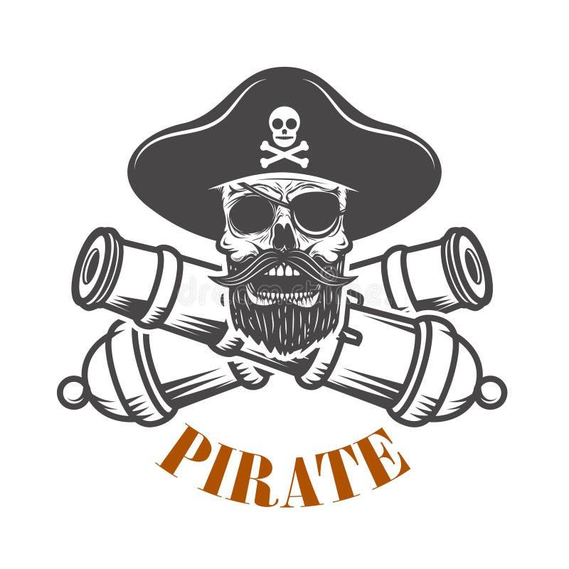 pirates Calibre d'emblème avec les canons et le crâne de pirate Concevez l'élément pour le logo, label, emblème, signe illustration stock