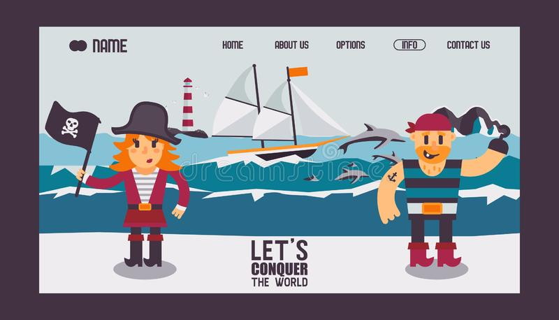 Pirates cartoon characters and sailing ship in the sea, vector illustration. Website design, landing page template. Quest game for children, funny pirates in stock illustration