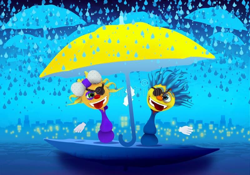 Pirates de caractères de Cartoony sous les nuages pleuvants illustration libre de droits