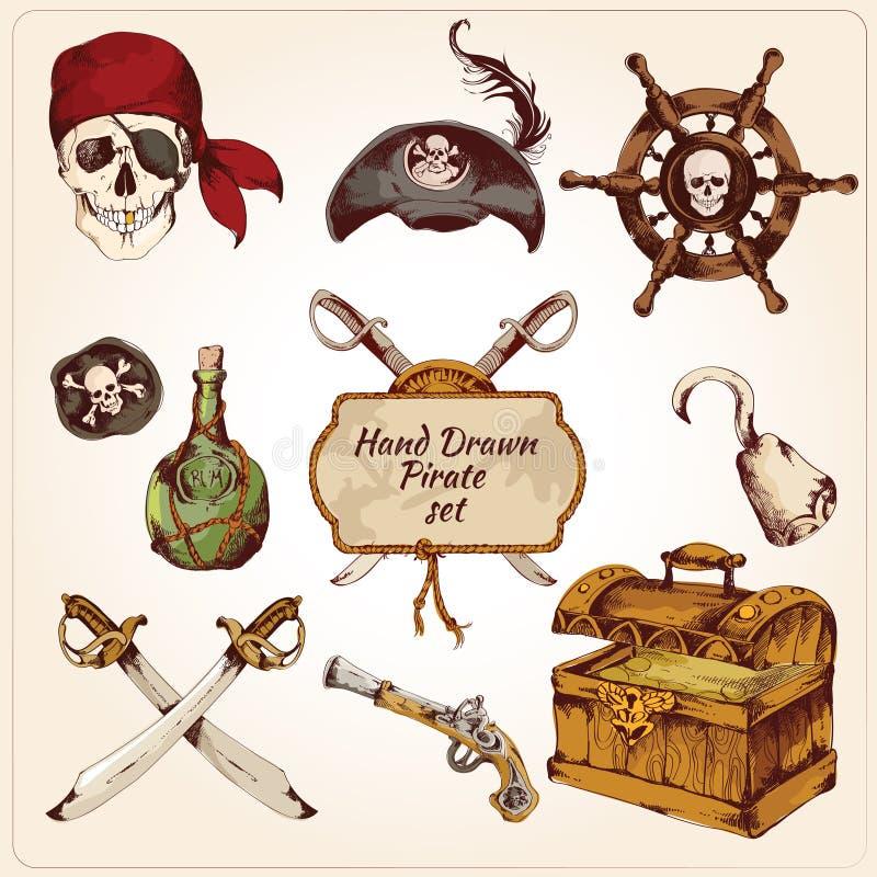 Pirates färgade symbolsuppsättningen royaltyfri illustrationer