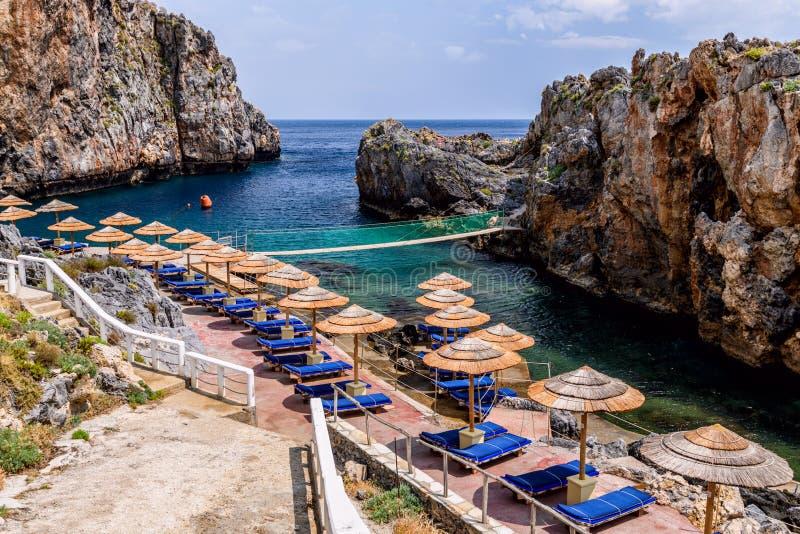Pirates Fjord named Kalypso in Crete island, Greece stock image
