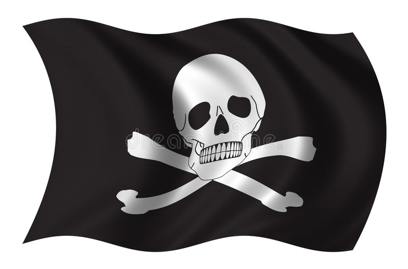 Pirates flag. Waving in the wind