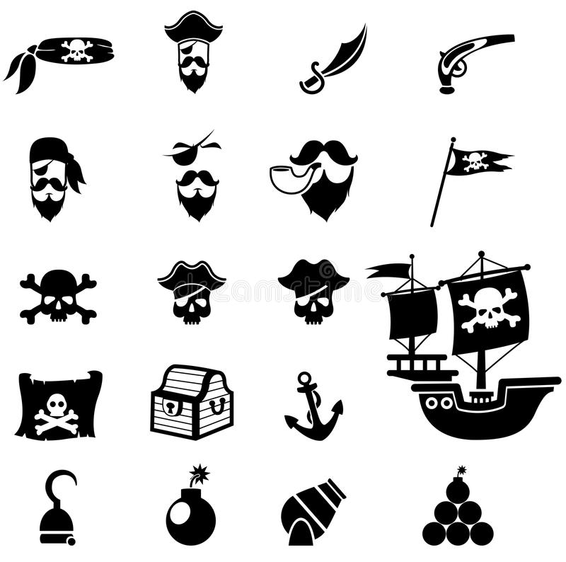 Pirates icons. Illustration of isolated pirates icons set vector illustration