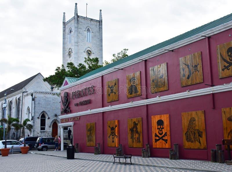 Pirates of Nassau Museum, Bahamas. February, 2016: Nassau, Bahamas - The exterior of the Pirate Museum in the downtown core of Nassau stock images