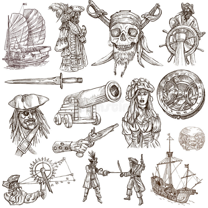 Free Pirates (no.2) - An Hand Drawn Collection Royalty Free Stock Photo - 52313655