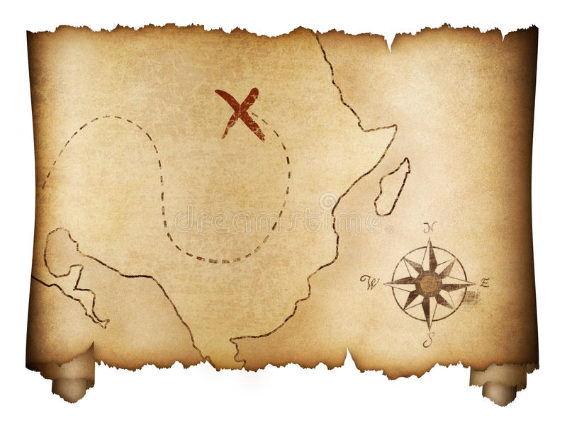 Pirates Old Treasure Map Roll Isolated Stock Photo