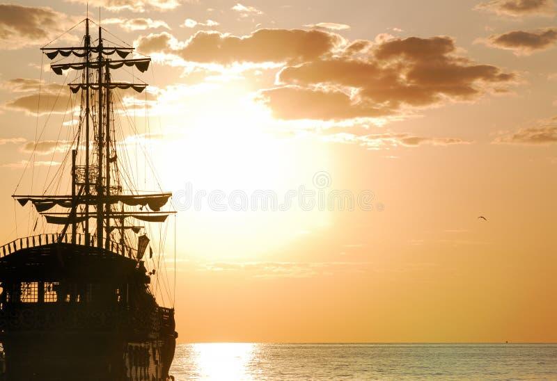 Pirates Ship horizontal orientation. Pirates Ship at sea in horizontal orientation stock photo