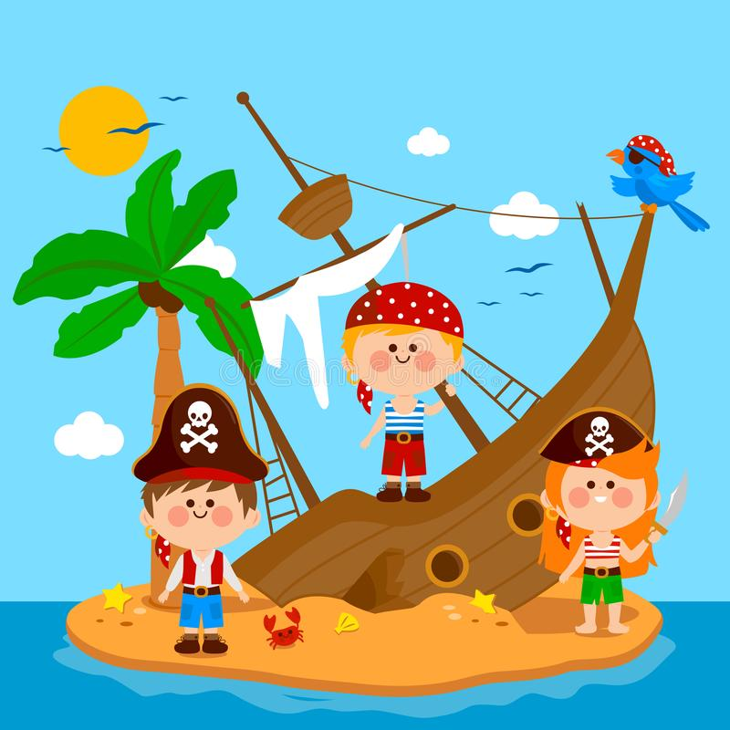 Pirates and shipwreck on an island. Vector illustration. Pirate boys and girls on a broken ship on a deserted island with a palm tree and a crab. Vector vector illustration
