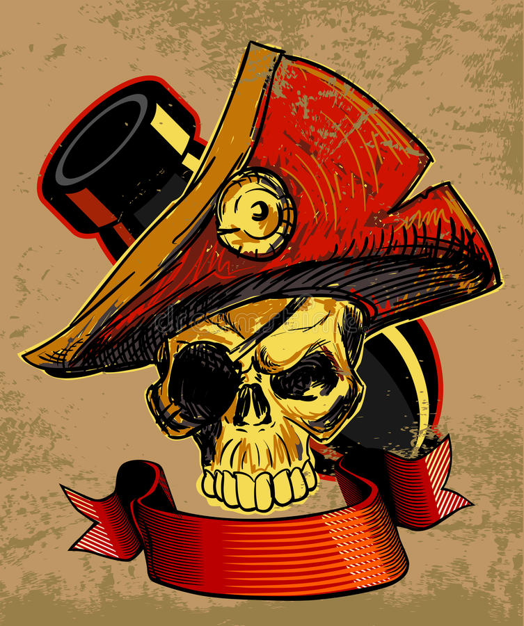 Pirates Skull Doodle. Sketch Illustration vector illustration