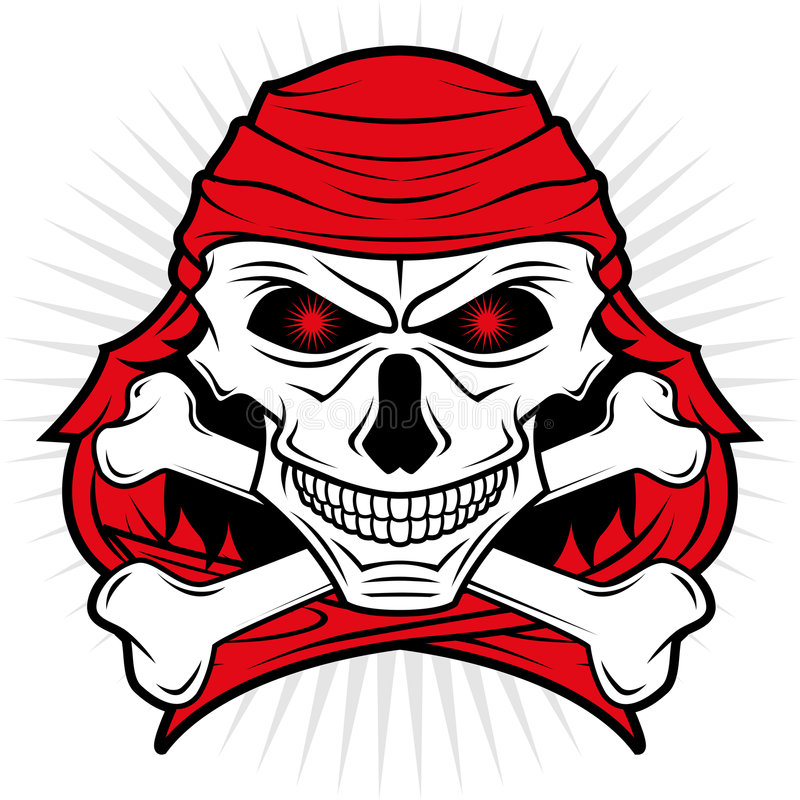 Pirates skull logo royalty free illustration