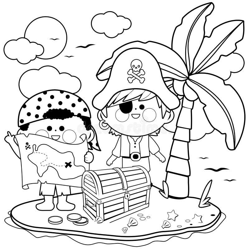 Pirates sur l'?le de tr?sor Page noire et blanche de livre de coloriage illustration stock
