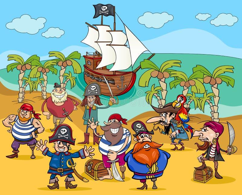 Pirates On Treasure Island Cartoon Stock Vector - Image ...