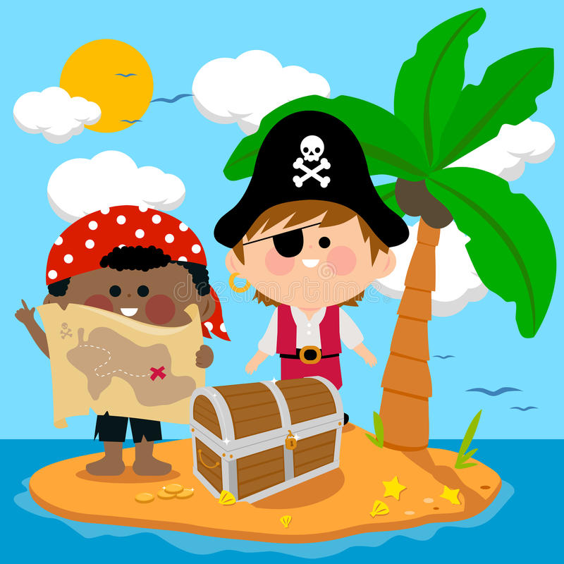 Pirates on treasure island. Vector illustration of children dressed as pirates finding a chest filled with treasure on an island stock illustration