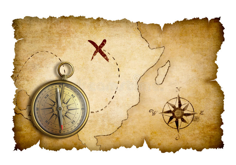 Pirates treasure map with compass isolated royalty free illustration