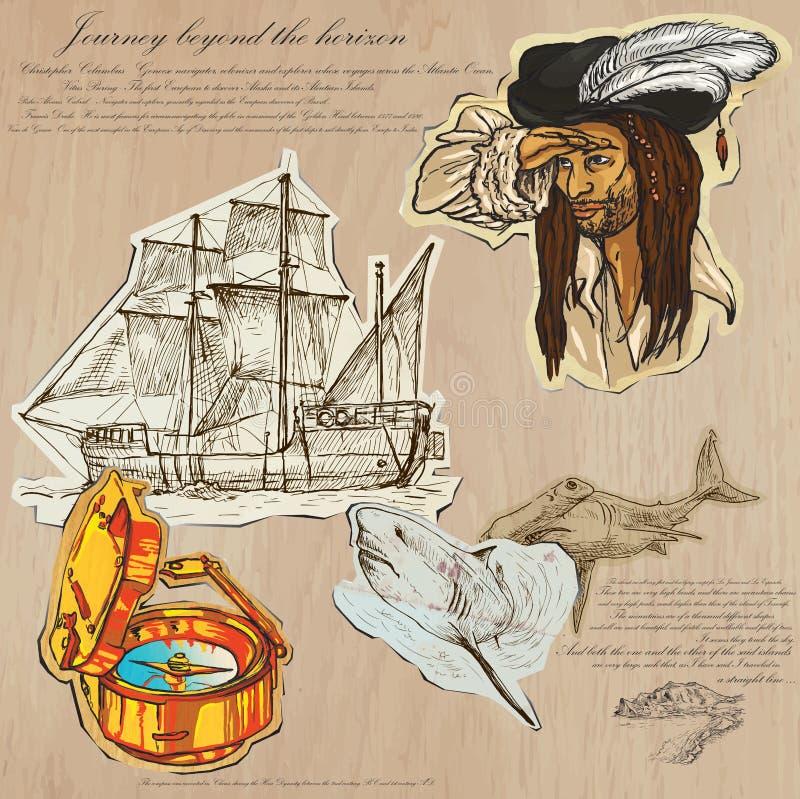 Pirates - voyage au delà de l'horizon illustration libre de droits