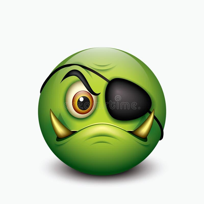Piratez l'émoticône, avec des crocs de sanglier et correction d'oeil - emoji - dirigez l'illustration illustration stock
