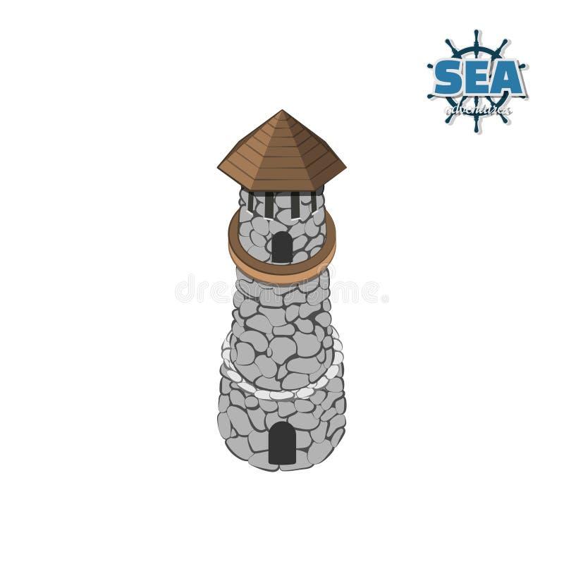 Piratez l'île avec le phare sur un fond blanc Île tropicale avec le château en pierre dans le style isométrique Jeu mobile illustration libre de droits