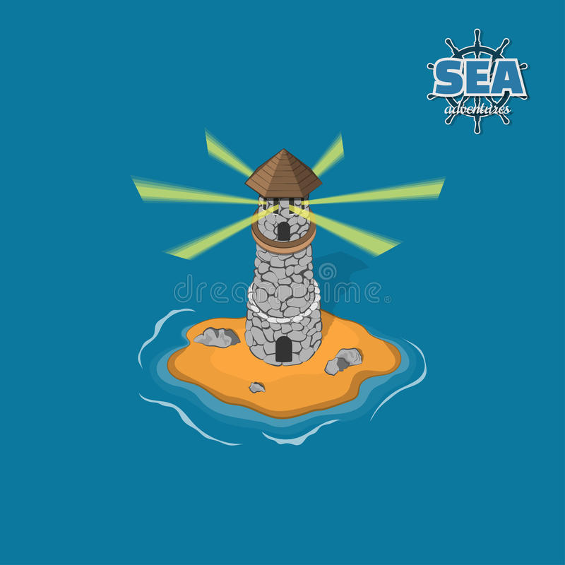 Piratez l'île avec le phare sur un fond bleu Île tropicale avec le château en pierre dans le style isométrique Jeu mobile illustration de vecteur