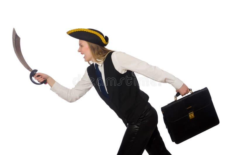 Piratez la fille tenant le sac et l'épée d'isolement dessus image stock