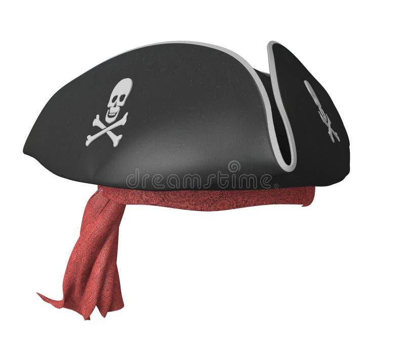 Piratez le chapeau à trois cornes avec des crânes et un bandana rouge images stock