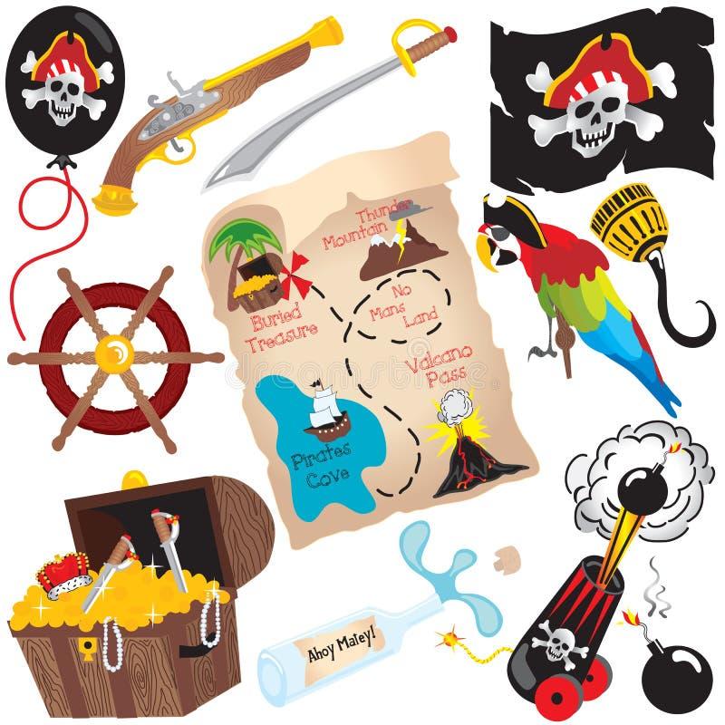 Piratez les éléments de clipart (images graphiques) de fête d'anniversaire illustration stock