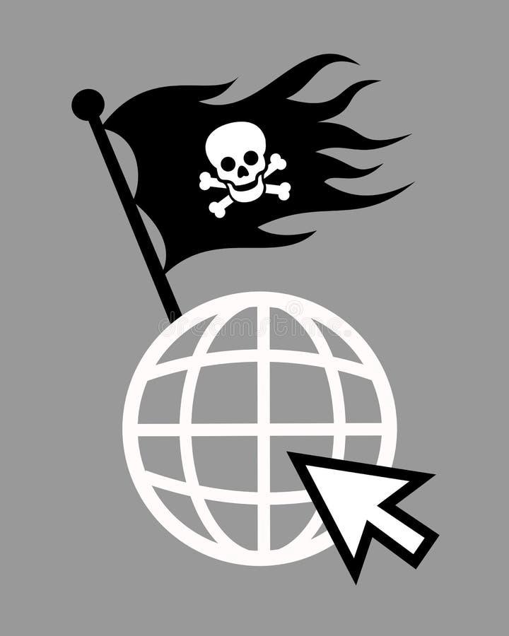 Pirati e piraty su Internet illustrazione di stock