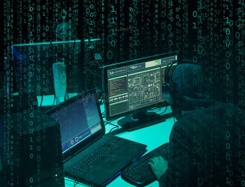 Pirati informatici carenti che codificano il ransomware del virus facendo uso dei computer portatili e dei computer Attacco cyber fotografie stock libere da diritti