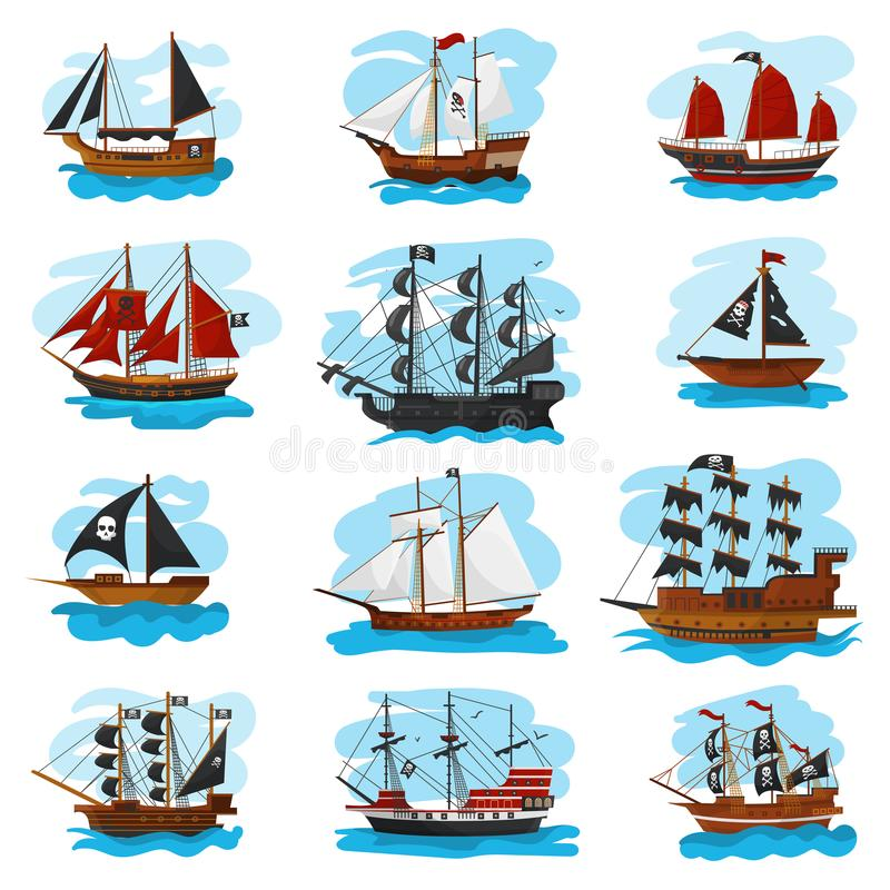 Piratic盗版小船船风船和强有力的海盗的快艇例证海军陆战队员套海盗的船传染媒介 皇族释放例证