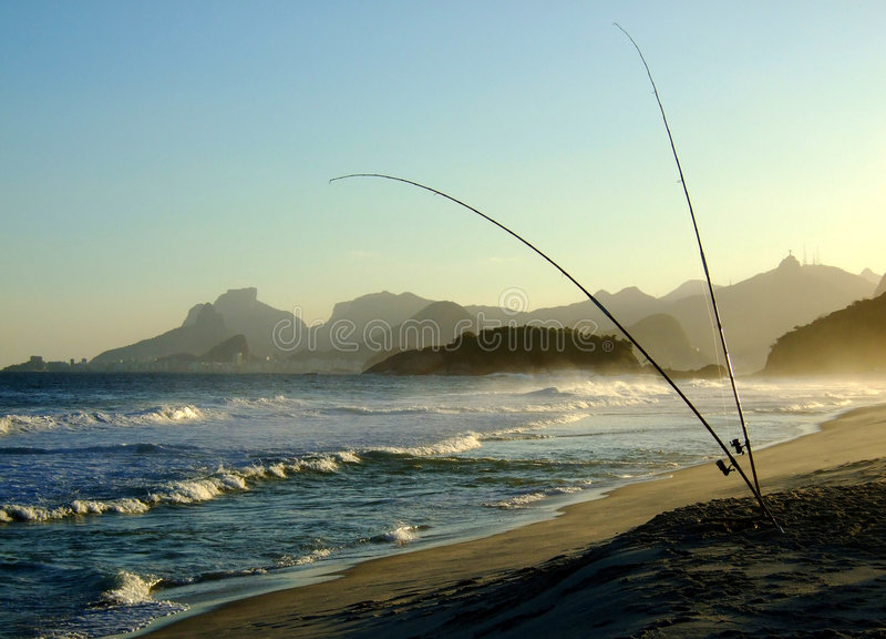 piratininga рыболовства пляжа стоковое изображение