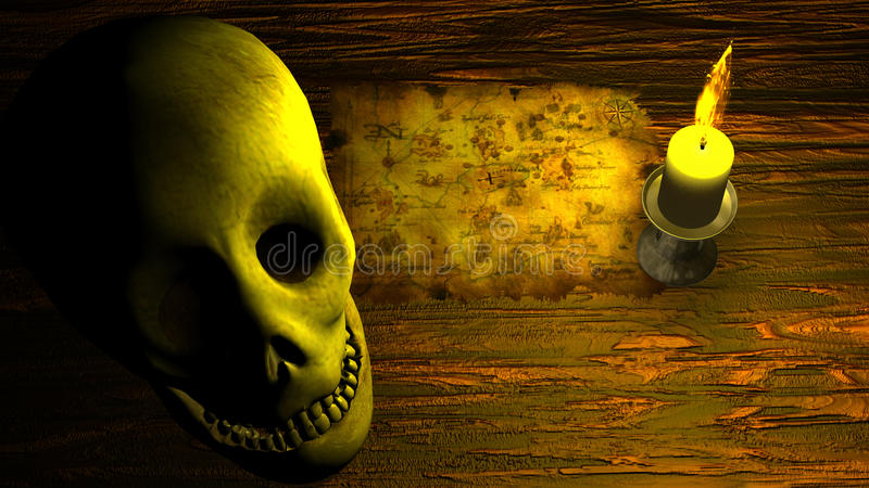 Piratkopiera översikten under stearinljusljus med den mänskliga skallen vektor illustrationer