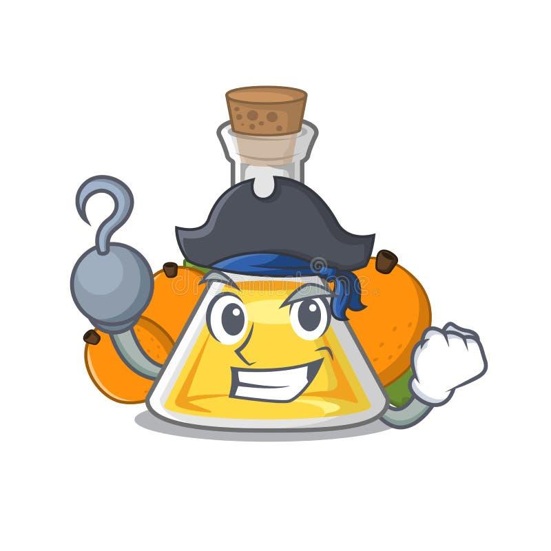 Piratkopiera aprikosolja i teckenflaskan royaltyfri illustrationer