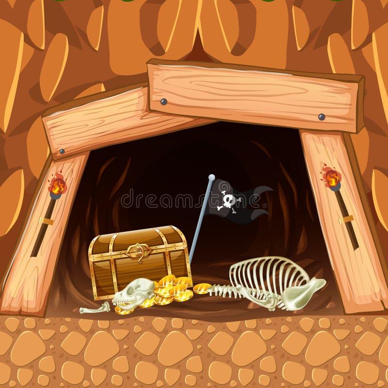 Piratkopiera att bryta det grottaskatten och skelettet vektor illustrationer