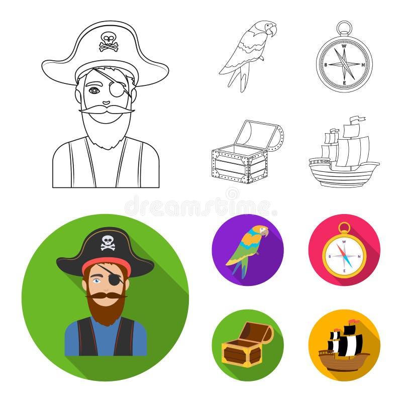 Piratkopiera banditen, hatt, förbinda Piratkopierar fastställda samlingssymboler i översikten, rengöringsduk för illustration för vektor illustrationer