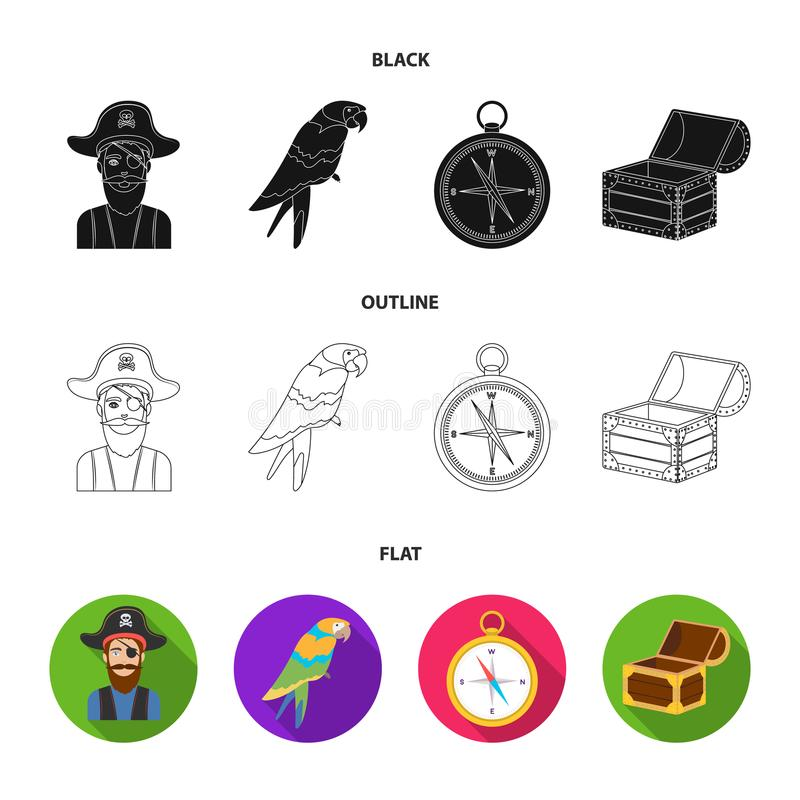 Piratkopiera banditen, hatt, förbinda Piratkopierar fastställda samlingssymboler i rengöringsduk för illustration för materiel fö stock illustrationer