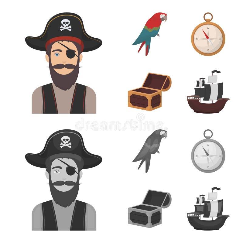 Piratkopiera banditen, hatt, förbinda Piratkopierar fastställda samlingssymboler i tecknade filmen, monokrom illustration för mat stock illustrationer