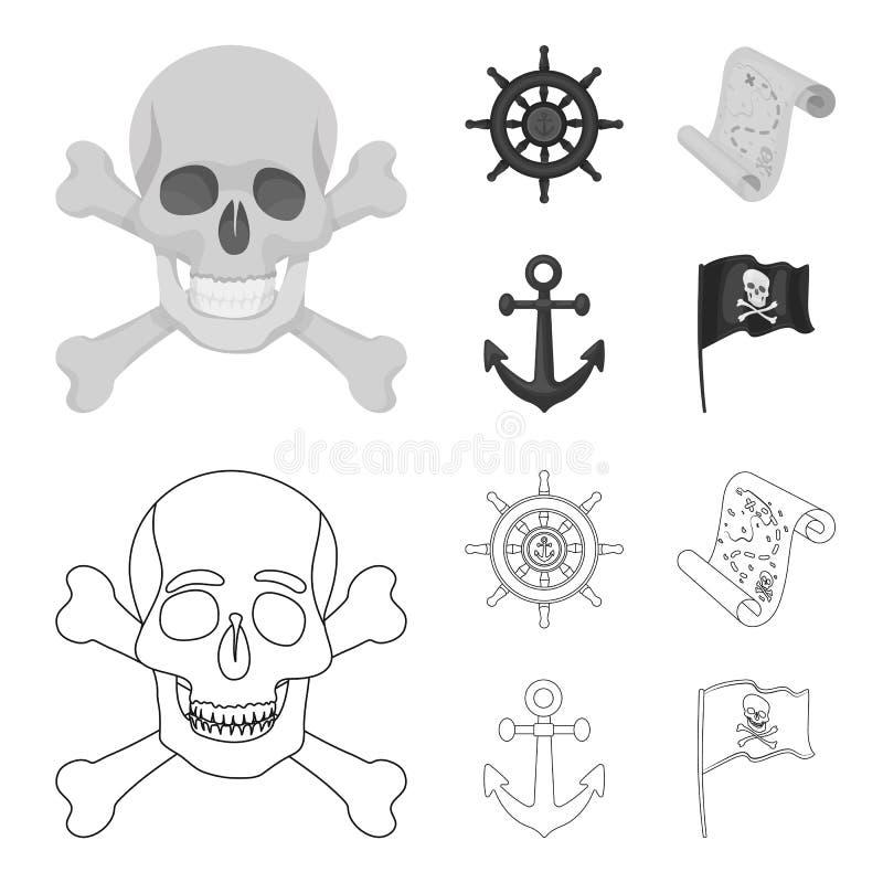 Piratkopiera banditen, rodern, flagga Piratkopierar fastställda samlingssymboler i översikten, monokrom illustration för materiel royaltyfri illustrationer