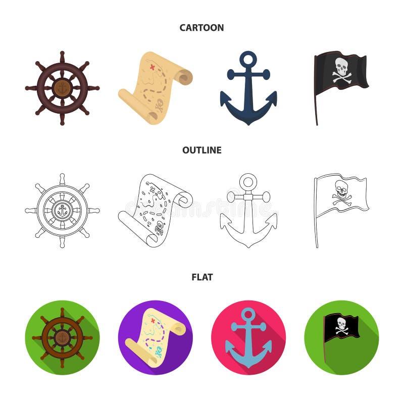 Piratkopiera banditen, rodern, flagga Piratkopierar fastställda samlingssymboler i tecknade filmen, översikten, materiel för symb royaltyfri illustrationer