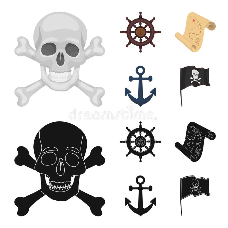 Piratkopiera banditen, rodern, flagga Piratkopierar fastställda samlingssymboler i tecknade filmen, rengöringsduk för illustratio royaltyfri illustrationer