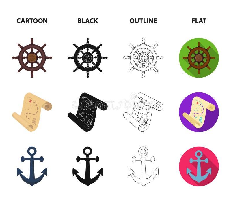 Piratkopiera banditen, rodern, flagga Piratkopierar fastställda samlingssymboler i tecknade filmen, svart, översikten, materiel f stock illustrationer