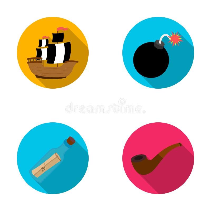 Piratkopiera banditen, skepp, segla Piratkopierar fastställda samlingssymboler i plan rengöringsduk för illustration för materiel royaltyfri illustrationer