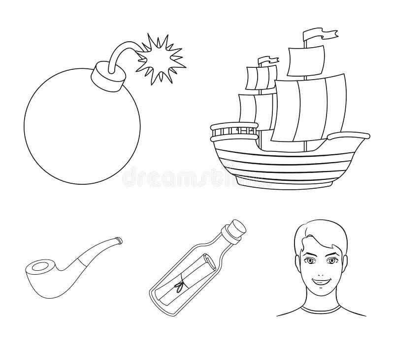 Piratkopiera banditen, skepp, segla Piratkopierar fastställda samlingssymboler i rengöringsduk för illustration för materiel för  royaltyfri illustrationer