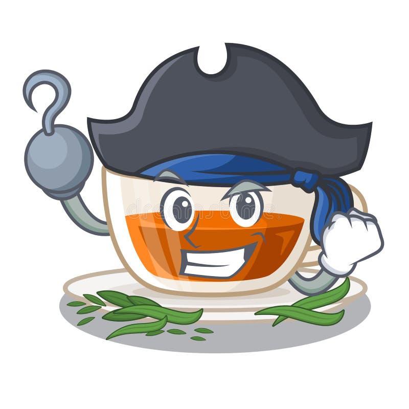 Piratkopiera darjeeling te som isoleras i tecknade filmen stock illustrationer