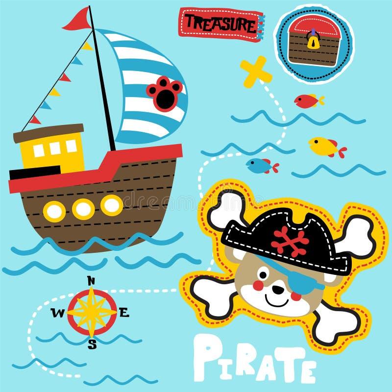 Piratkopiera den fastställda tecknade filmen för temat stock illustrationer