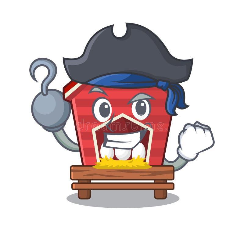 Piratkopiera den fega coopen som isoleras i maskot vektor illustrationer