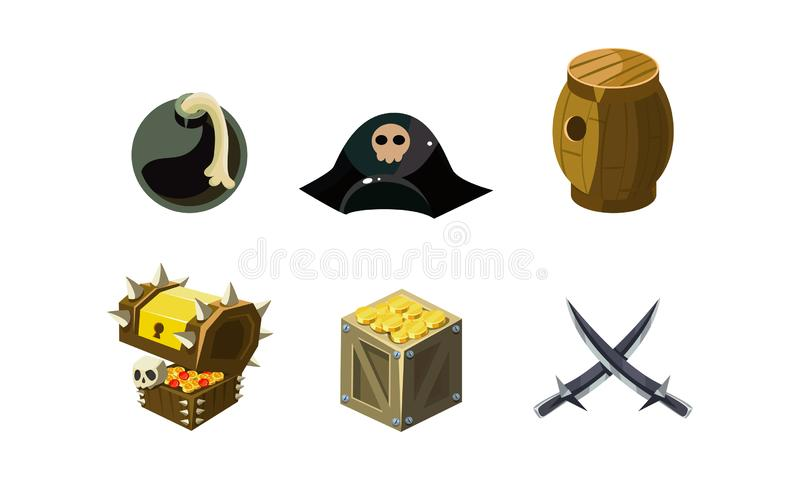 Piratkopiera den modiga beståndsdeluppsättningen, bombardera, hatten, bröstkorg av den guld- trätrumman, korsade sablar, användar royaltyfri illustrationer