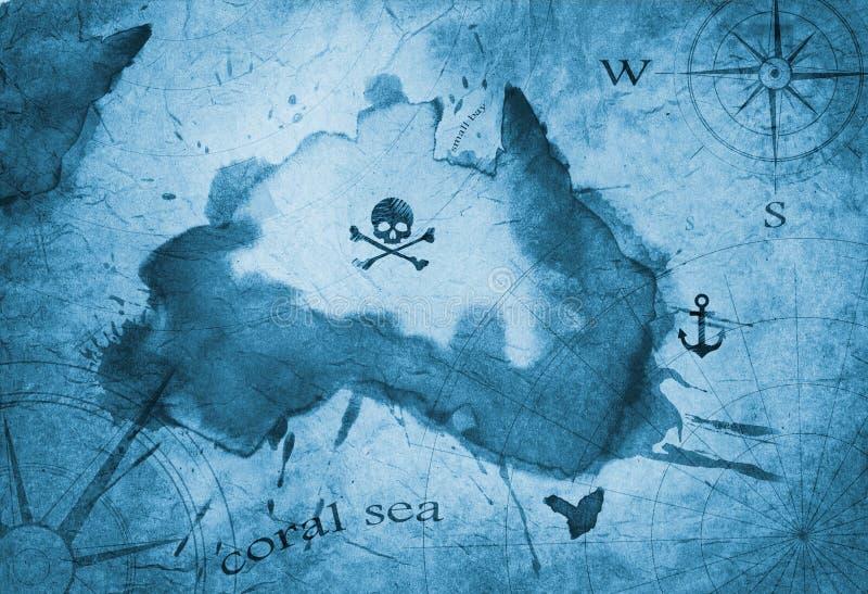 Piratkopiera den nautiska översikten för skattön royaltyfri illustrationer