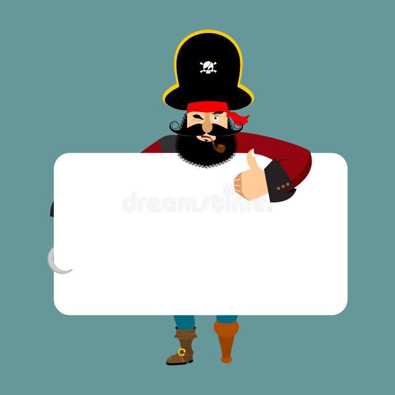 Piratkopiera det hållande banermellanrumet göra obstruktion och vitmellanrumet corsair royaltyfri illustrationer