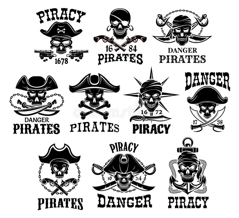 Piratkopiera eller Jolly Roger uppsättningen för vektorsymboler vektor illustrationer