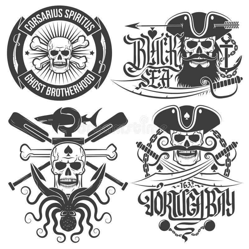 Piratkopiera emblem stock illustrationer